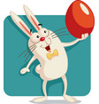 happy bunny holding an easter egg cartoon vector image