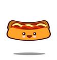 hot-dog cartoon character icon kawaii fast food vector image