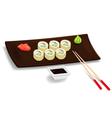 Japanese sushi with chopsticks vector image