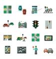 Traffic Icons Flat Set vector image