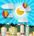 Flat Design Paper Cut City Abstract Mountains City vector image vector image