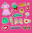 woman doodle with clothes lips and beauty vector image vector image