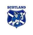 rugby player scotland flag shield vector image vector image