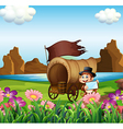 A monkey beside the wagon at the riverbank vector image vector image