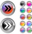 forward arrow multicolor round button vector image vector image