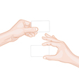 Man hands holding a blank cards vector image vector image