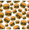 Seamless pattern with tasty cheeseburgers vector image vector image