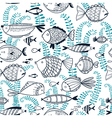 doodle seamless background with fishes vector image vector image
