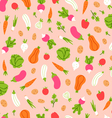 Vegetables pattern on peach background vector image vector image