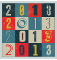 Colorful Retro Vintage 2013 New Year vector image