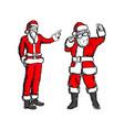 fat and thin santa claus sketch vector image