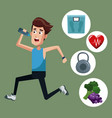 healthy man running sport icons vector image