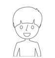 young boy portrait smiling cartoon vector image