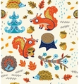 Autumn seamless pattern with squirrels leaves vector image