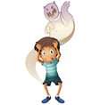 A scared boy with a ghost at the back vector image