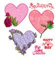 set of 3 decorative handdrawn floral hearts vector image vector image