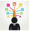 social media word icon stock vector image