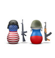 Russian and USA military dolls vector image