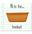 Flashcard letter B is for basket vector image