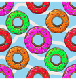 Donut with sprinkles seamless pattern vector image