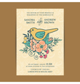 invitation card wiyh flowers and bird vector image