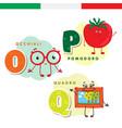 Italian alphabet glasses tomato picture vector image
