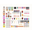 Realistic set of cosmetics on white wooden vector image