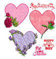 set of 3 decorative handdrawn floral hearts vector image