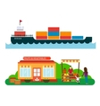 Street seller with stall fruits and ship cargo sea vector image