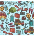 Travel sketch seamless pattern vector image