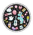 unicorn pop art comic style round card with stars vector image