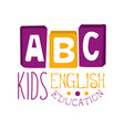 abc english education for kids logo symbol vector image