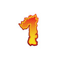 Number 1 fire flames font one tattoo alphabet vector image