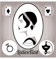 Retro lady face and accessories isolated vector image