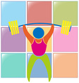 Sport icon design for weightlifting in color vector image