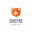 cartoon fox head logo Flat logotype vector image