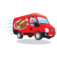Courier driving a delivery van vector image