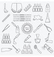 Manicure nail salon Icon set Thin line design vector image