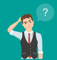 thinking man with question mark cartoon vector image
