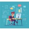 Businessman working behind his computer vector image