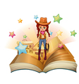 A book with a pretty cowgirl vector image vector image