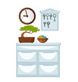glossy chest of drawers wooden clocks and keys vector image vector image