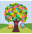 beautiful tree with owls on swings vector image