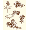 vintage hand drawn flowers vector image vector image