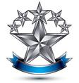 Renown silver star emblem with wavy ribbon 3d vector image