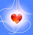 pendant heart crystal vector image vector image