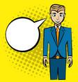 comic man pop art bubble speech vector image