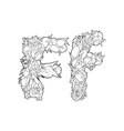 flower alphabet the letter f vector image