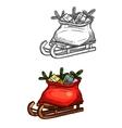 Santa Christmas sleigh with gifts sketch vector image