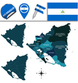Nicaragua map with named divisions vector image
